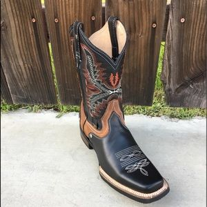 Mens Rodeo Genuine Leather Black Boots